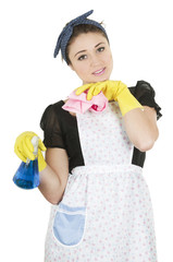 Young girl wearing apron and holding cleaning products