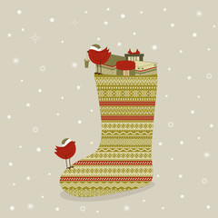 Christmas sock with gifts and red bird