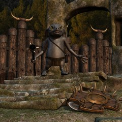 Medieval background with fantasy toon figure