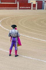 Torero holding cape