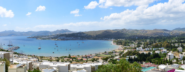 Panorama of the beach with recreation yachts on Turkish resort,