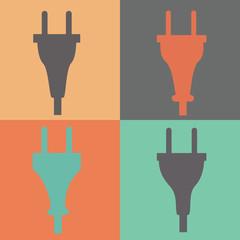 Set of electric plug sign icon. Power energy symbol. Flat style.