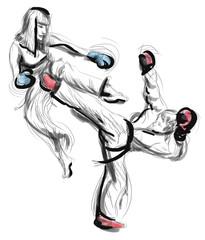Tae-Kwon Do. An full sized hand drawn illustration on white