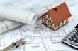 canvas print picture - Bauplan für ein Haus