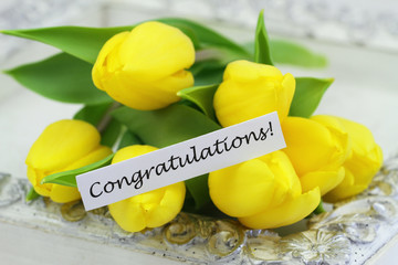 Congratulations card with yellow tulips