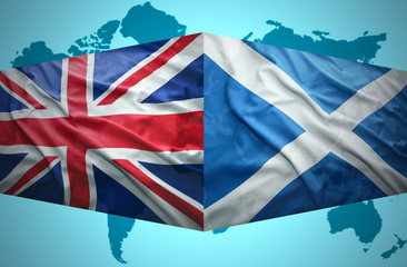 Waving Scottish and British flags