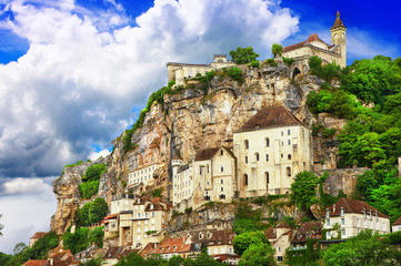 Rocamadour, a beautiful french village on a cliff in Midi-Pyrene