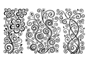Set of three vector floral illustrations