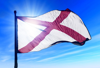 Alabama (USA) flag waving on the wind