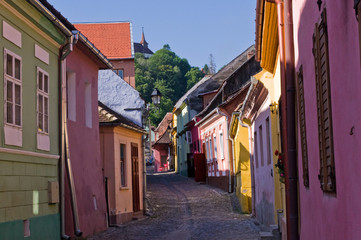 Old buildings in medieval city of Sighisoara (Transylvania)