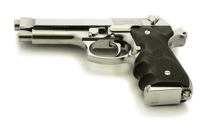 chrome stainless gun on white background