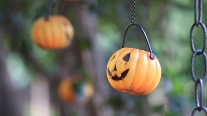 Halloween pumpkin mobile in wind, HD Clip.