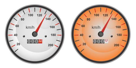 Vector illustration of speedometer gauges in two color variants