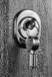 canvas print picture - Keys stuck in a lock. close up