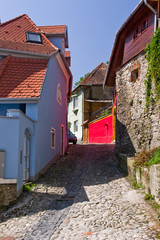 Street view in medieval city of Sighisoara (Transylvania)