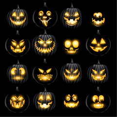 Set of jack o lantern pumkins halloween faces