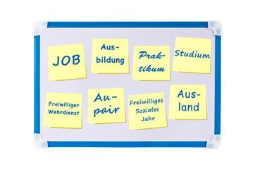 Tafel mit Notizzetteln: Wege nach der Schule