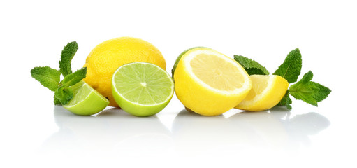Three sliced lemons with limes with mint