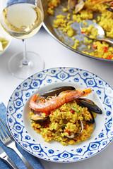 Typical spanish seafood paella