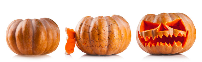 Halloween pumpkins isolated on white backgroun
