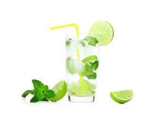 Mojito drink in dewy glass,cold water,ice cubes,mint,straw and l