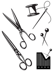 Nähgarn mit Nadel, Scheren, Stecknadeln/ sw Grafiken