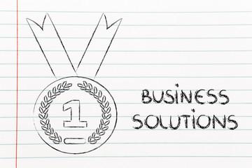 best business solution, gold medal symbol
