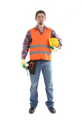 Construction Contractor Carpenter on White