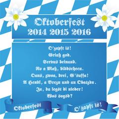 Oktoberfest Redensarten Banner Schleife Edelweiß