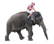 happy tourist rides on an elephant and shows thumb up