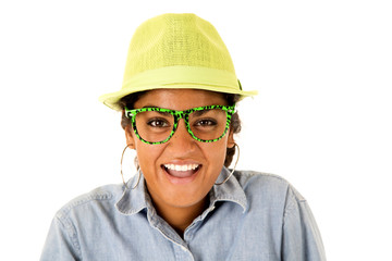 Asian teenager wearing green fedora hat and funny glasses