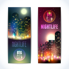 City at night vertical banners