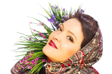 Beautiful woman in shawl