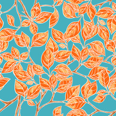 Seamless background with orange leaves