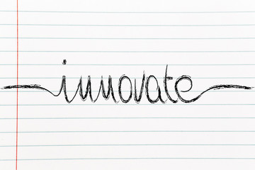 calligraphic handwriting with the word Innovate