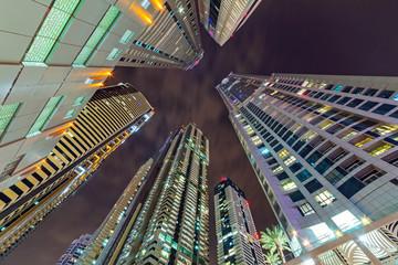 Cityscape of Dubai at night, United Arab Emirates