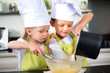 happy children kids family preparing funny cake kitchen at home - 69062049
