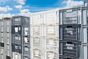 empty plastic crates