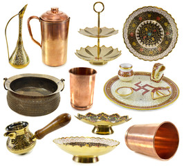 Big set with traditional Indian kitchen ware