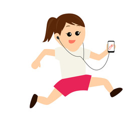 A young woman jogging while listening to music