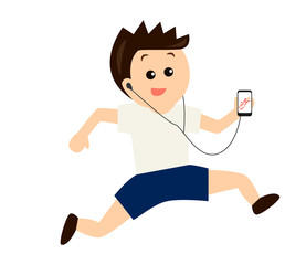 A young man jogging while listening to music