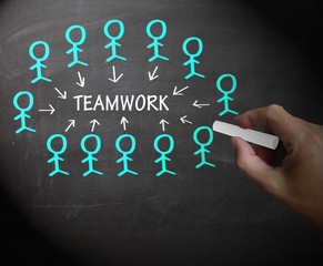 Teamwork Stick Figures Shows Working As A Team