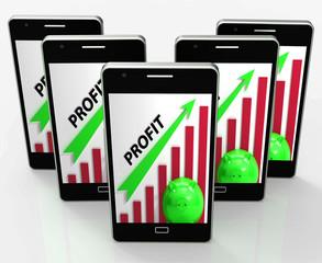 Profit Graph Phone Shows Sales Revenue And Return