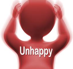 Unhappy Man Shows Sad Depressed Or Upset