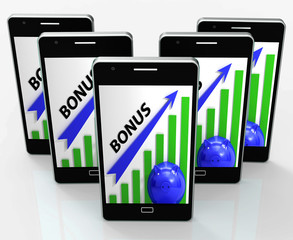 Bonus Graph Phone Shows Incentives Rewards And Premiums