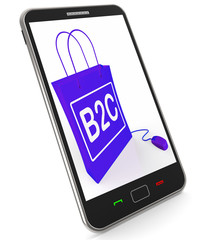 B2C Bag Represents Online Business and Buying