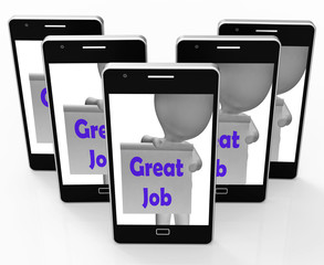 Great Job Phone Means Well Done And Praise