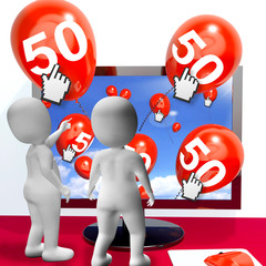 Number 50 Balloons from Monitor Show Internet Invitation or Cele