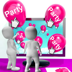 Party Balloons Represent Internet Parties and Invitations