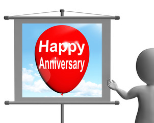 Happy Anniversary Sign Shows Cheerful Festivities and Parties